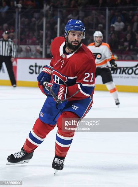 Nate Thompson of the Montreal Canadiens skates against the Philadelphia Flyers in the NHL game at the Bell Centre on February 21 2019 in Montreal...