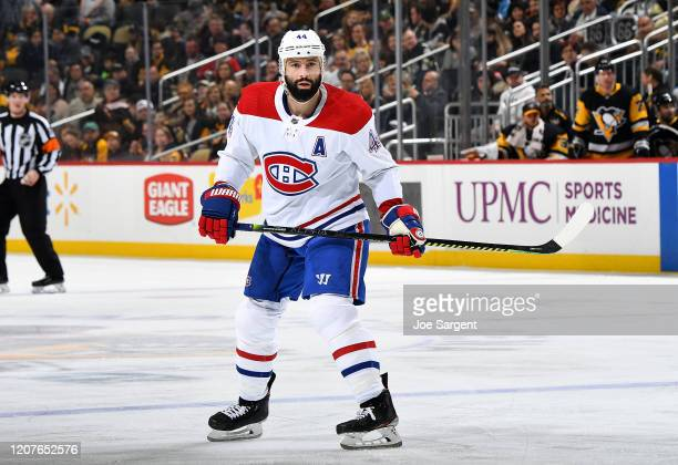 Nate Thompson of the Montreal Canadiens skates against the Pittsburgh Penguins at PPG PAINTS Arena on February 14 2020 in Pittsburgh Pennsylvania