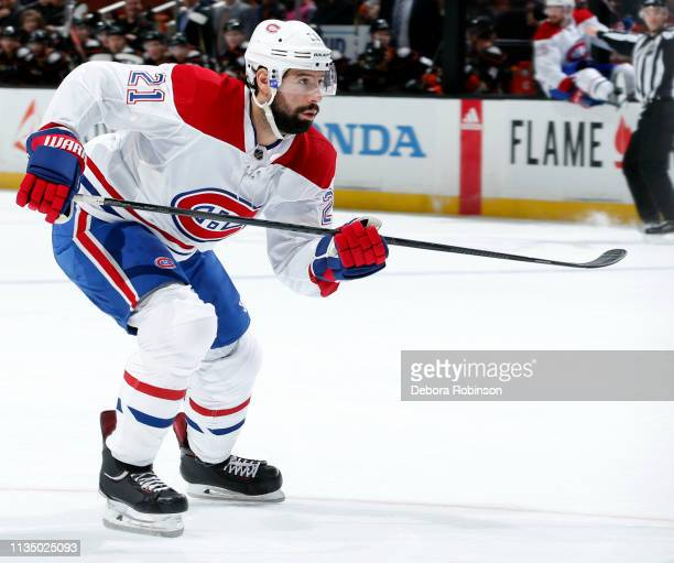 Nate Thompson of the Montreal Canadiens skates during the game against the Anaheim Ducks on March 8 2019 at Honda Center in Anaheim California
