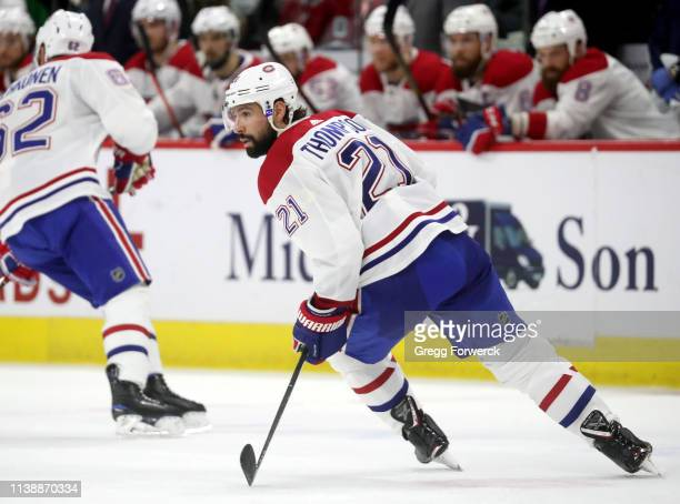 Nate Thompson of the Montreal Canadiens skates for position on the ice during an NHL game against the Carolina Hurricanes on March 24 2019 at PNC...
