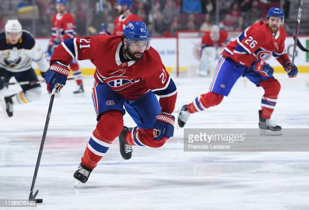 Nate Thompson of the Montreal Canadiens skates with the puck against the Buffalo Sabres in the NHL game at the Bell Centre on March 23 2019 in...