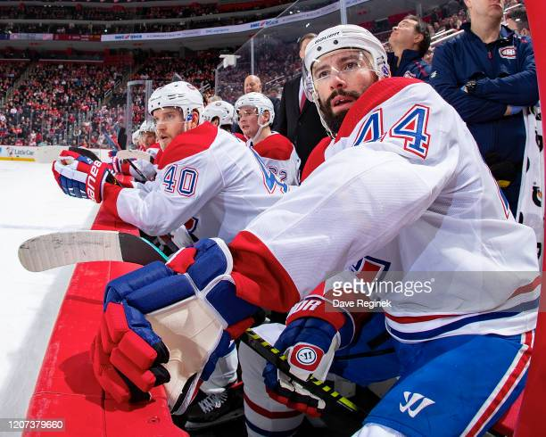 Nate Thompson of the Montreal Canadiens watches the action from the bench against the Detroit Red Wings during an NHL game at Little Caesars Arena on...