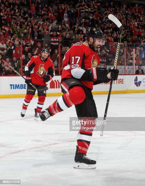 Nate Thompson of the Ottawa Senators celebrates his third period shorthanded goal against the Los Angeles Kings at Canadian Tire Centre on October 24...