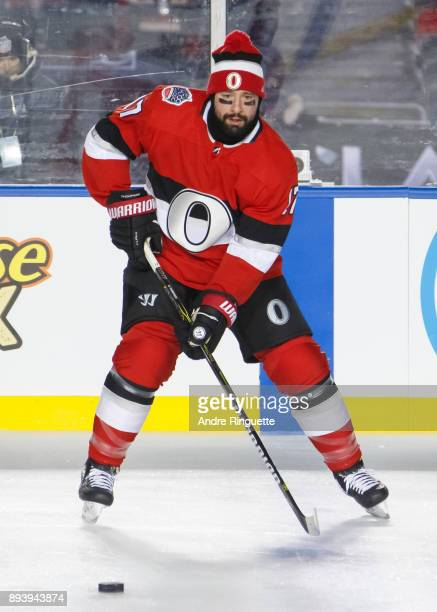 Nate Thompson of the Ottawa Senators handling the puck during warmup prior to the 2017 Scotiabank NHL100 Classic against the Montreal Canadiens at...