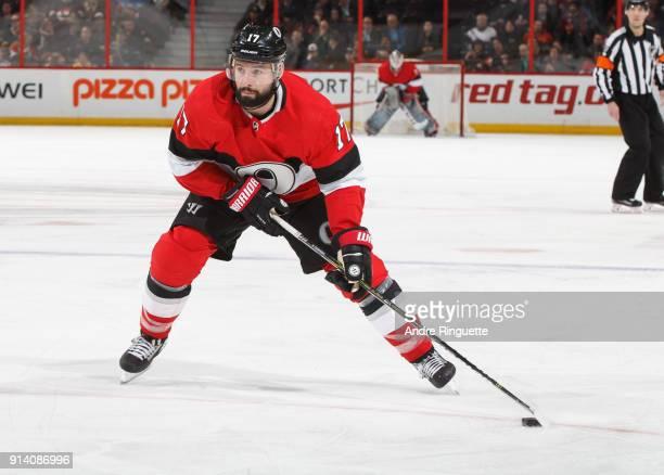 Nate Thompson of the Ottawa Senators skates against the Anaheim Ducks at Canadian Tire Centre on February 1 2018 in Ottawa Ontario Canada