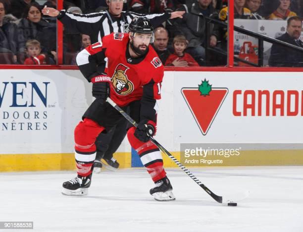 Nate Thompson of the Ottawa Senators skates against the Boston Bruins at Canadian Tire Centre on December 30 2017 in Ottawa Ontario Canada