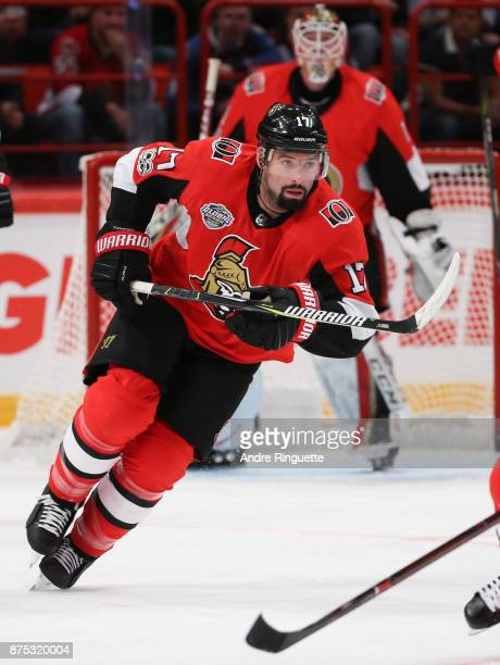 Nate Thompson of the Ottawa Senators skates against the Colorado Avalanche at Ericsson Globe on November 11 2017 in Stockholm Sweden
