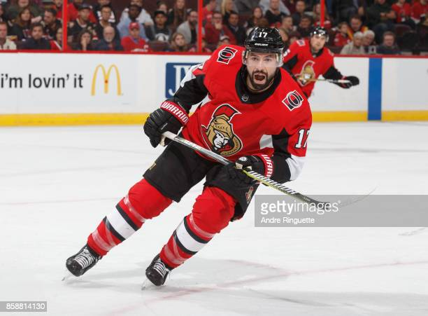 Nate Thompson of the Ottawa Senators skates against the Detroit Red Wings at Canadian Tire Centre on October 7 2017 in Ottawa Ontario Canada