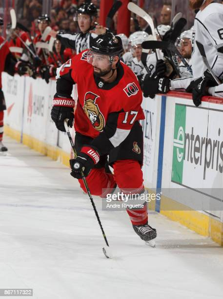 Nate Thompson of the Ottawa Senators skates against the Los Angeles Kings at Canadian Tire Centre on October 24 2017 in Ottawa Ontario Canada