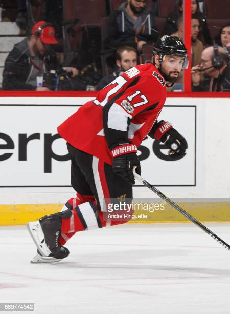 Nate Thompson of the Ottawa Senators skates against the Montreal Canadiens at Canadian Tire Centre on October 30 2017 in Ottawa Ontario Canada