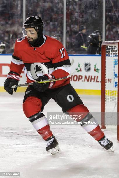Nate Thompson of the Ottawa Senators skates against the Montreal Canadiens at the 2017 Scotiabank NHL 100 Classic at Lansdowne Park on December 16...
