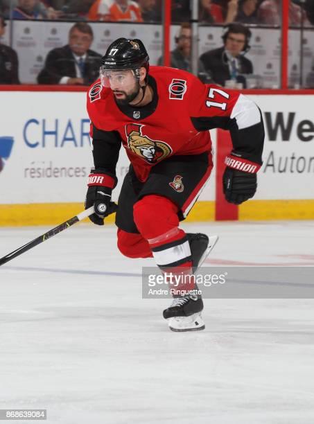 Nate Thompson of the Ottawa Senators skates against the Philadelphia Flyers at Canadian Tire Centre on October 26 2017 in Ottawa Ontario Canada