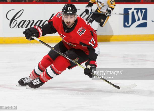 Nate Thompson of the Ottawa Senators skates against the Pittsburgh Penguins at Canadian Tire Centre on November 16 2017 in Ottawa Ontario Canada