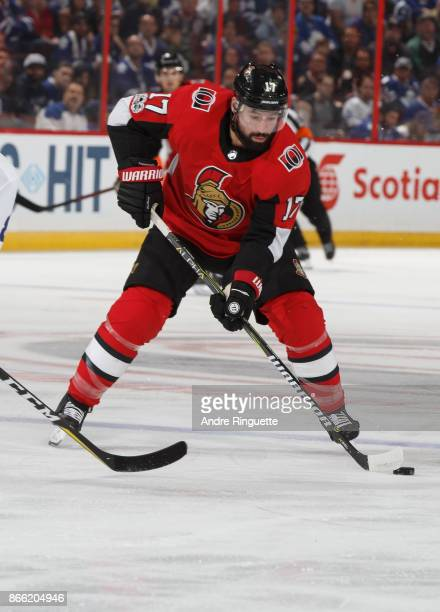 Nate Thompson of the Ottawa Senators skates against the Toronto Maple Leafs at Canadian Tire Centre on October 21 2017 in Ottawa Ontario Canada