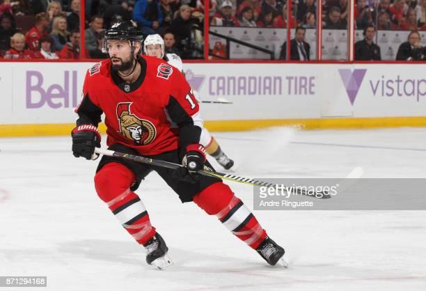 Nate Thompson of the Ottawa Senators skates against the Vegas Golden Knights at Canadian Tire Centre on November 4 2017 in Ottawa Ontario Canada