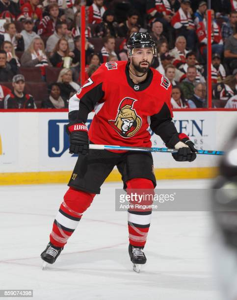 Nate Thompson of the Ottawa Senators skates against the Washington Capitals at Canadian Tire Centre on October 5 2017 in Ottawa Ontario Canada