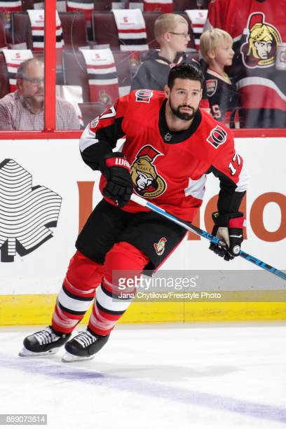 Nate Thompson of the Ottawa Senators skates during the warmup prior to a game against the Washington Capitals at Canadian Tire Centre on October 5...