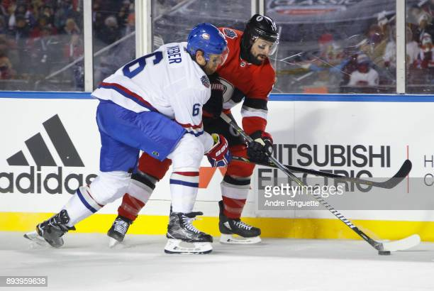 Nate Thompson of the Ottawa Senators skates with the puck against Shea Weber of the Montreal Canadiens during the third period of the 2017 Scotiabank...