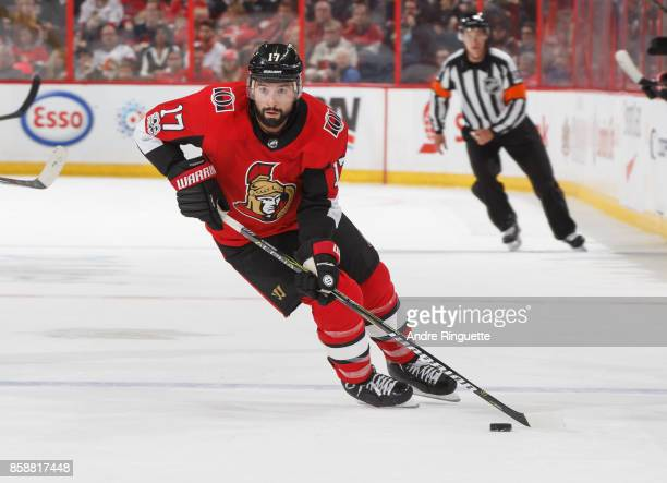 Nate Thompson of the Ottawa Senators stickhandles the puck against the Detroit Red Wings at Canadian Tire Centre on October 7 2017 in Ottawa Ontario...