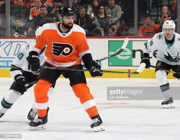 Nate Thompson of the Philadelphia Flyers skates against the San Jose Sharks on February 25 2020 at the Wells Fargo Center in Philadelphia Pennsylvania