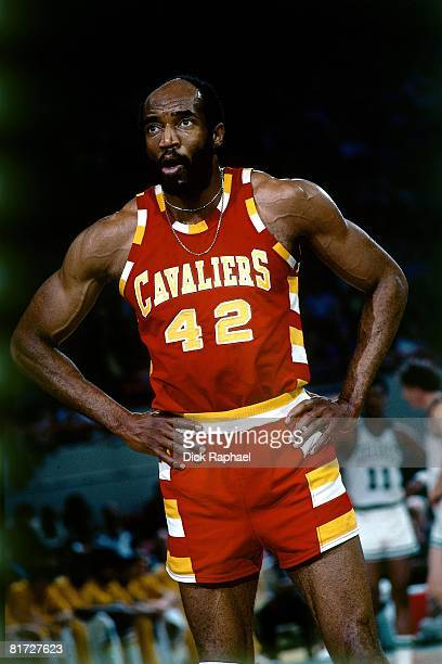Nate Thurmond of the Cleveland Cavaliers stands on the court during a game against the Boston Celtics circa 1976 at the Boston Garden in Boston...