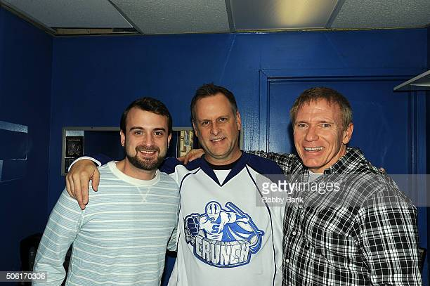 Nate Weatherup, Dave Coulier and Vinnie Brand backstage at The Stress Factory Comedy Club on January 21, 2016 in New Brunswick, New Jersey.
