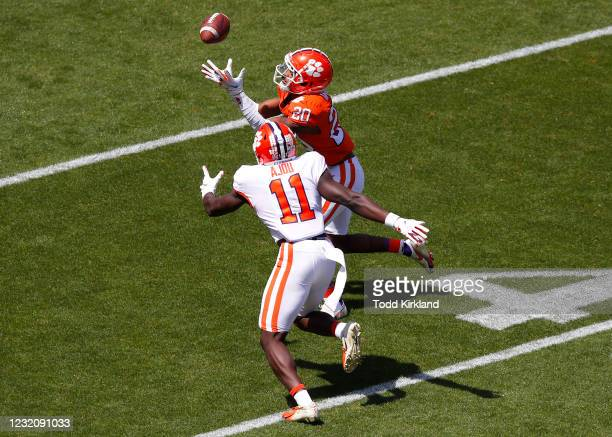 Nate Wiggins of the Clemson Tigers breaks up a pass intended for Ajou Ajou during the Clemson Orange and White Spring Game at Memorial Stadium on...
