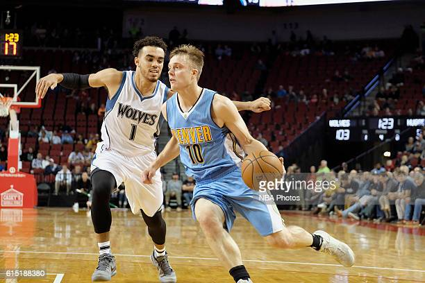 Nate Wolters of the Denver Nuggets handles the ball against the Minnesota Timberwolves during a preseason game on October 12 2016 at Pinnacle Bank...