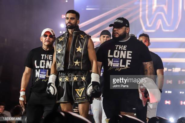 Nate Wyatt enters the ring during LivexLive's Social Gloves: Battle Of The Platforms PPV Livestream at Hard Rock Stadium on June 12, 2021 in Miami...