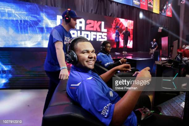 NateKahl of Knicks Gaming is caught off guard after the game against Cavs Legion Gaming Club during the Semifinals of the NBA 2K League Playoffs on...