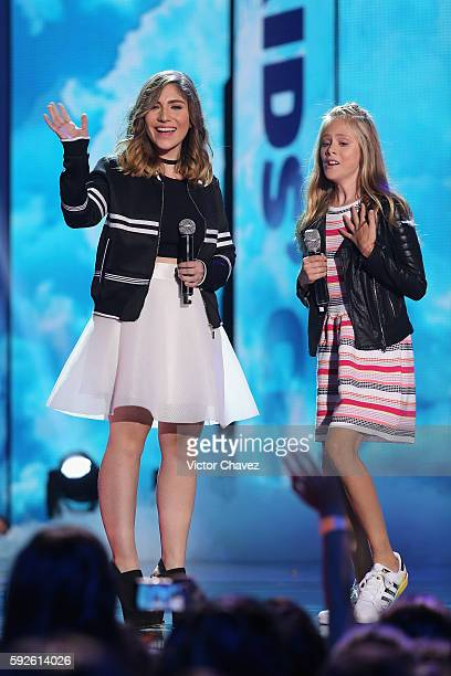 Nath Campos and Loreto Peralta speak on stage during the Nickelodeon Kids' Choice Awards Mexico 2016 at Auditorio Nacional on August 20 2016 in...