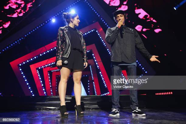 Nath Campos speaks on stage during the MTV MIAW Awards 2017 at Palacio de Los Deportes on June 3 2017 in Mexico City Mexico