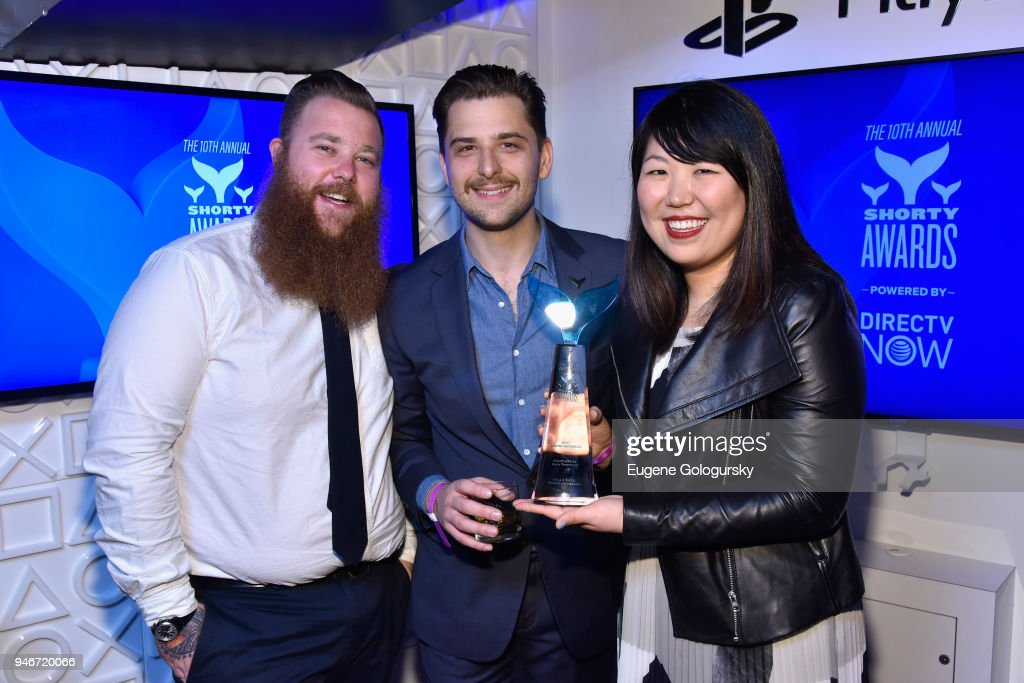 Nath Mallon, Ryan Engelbert and Grace Lee attend the 10th Annual Shorty Awards at PlayStation Theater on April 15, 2018 in New York City.