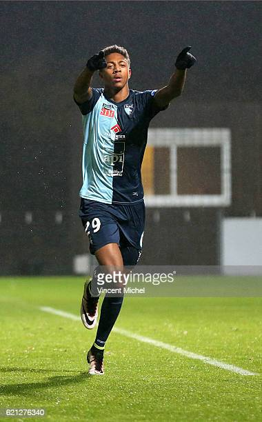 Nathael Julan of Le Havre celebrates during the Ligue 2 match between Stade Lavallois and Le Havre AC on November 4 2016 in Laval France