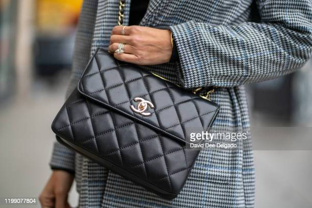 Nathalia Ashba wears Natyashba pant suit Luis Vuitton Shoes and a Channel Purse to NYFW on February 6 2020 in New York City