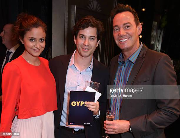 """Nathalia Chubin, Adam Garcia and Craig Revel Horwood attend a post show drinks reception on stage following the press night performance of """"Gypsy"""" at..."""