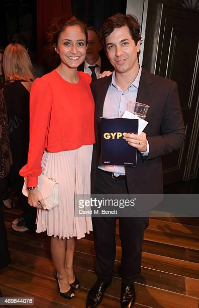 Nathalia Chubin and Adam Garcia attend a post show drinks reception on stage following the press night performance of Gypsy at The Savoy Theatre on...