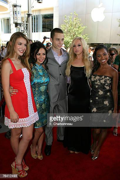Nathalia Ramos Janel Parrish Chet Hanks Skyler Shaye and Logan Browning at the Bratz Los Angeles premiere at The Grove on July 29 2007 in Los Angeles...