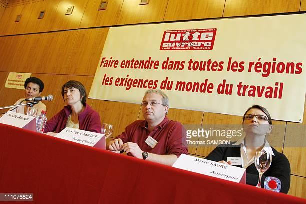 Nathalie Arthaud the FO party's national spokesperson holds a press conference on regional elections Farida Megdoud Nathalie Arthaud JeanPierre...