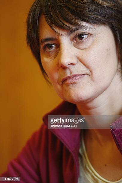 Nathalie Arthaud the FO party's national spokesperson holds a press conference on regional elections Nathalie Arthaud in Paris France on December...