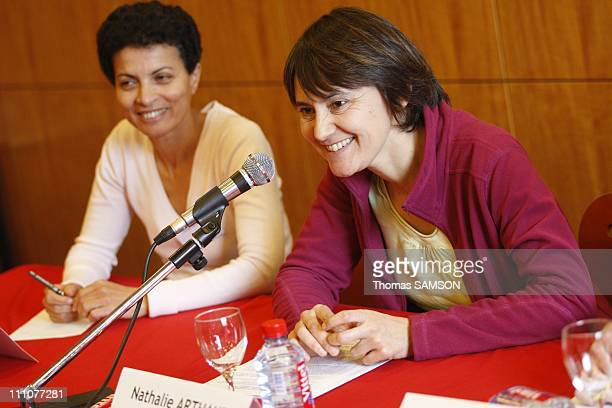 Nathalie Arthaud the FO party's national spokesperson holds a press conference on regional elections Farida Megdoud Nathalie Arthaud in Paris France...