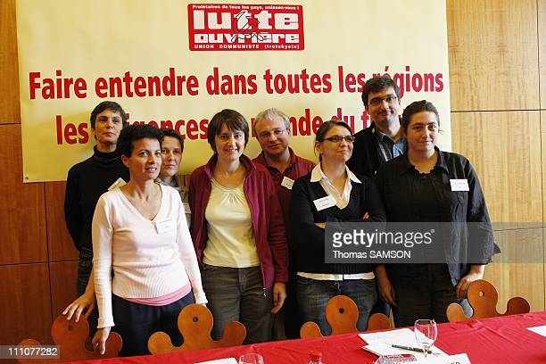 Nathalie Arthaud the FO party's national spokesperson holds a press conference on regional elections Nathalie Arthaud JeanPierre Mercier Farida...