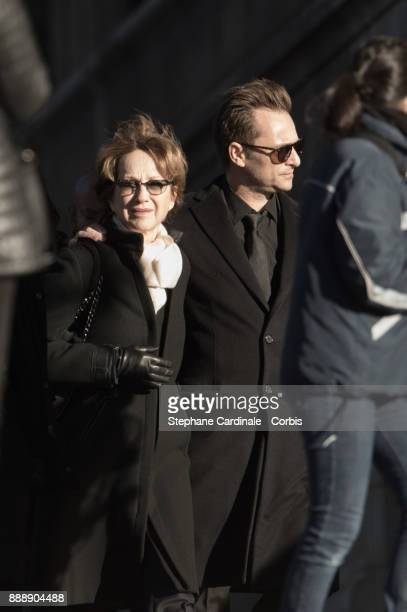 Nathalie Baye and David Hallyday during Johnny Hallyday's funeral at Eglise De La Madeleine on December 9 2017 in Paris France France pays tribute to...
