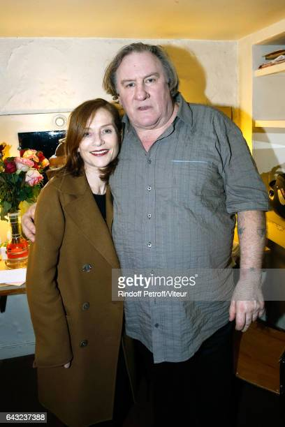 Nathalie Baye and Gerard Depardieu pose Backstage after Gerard Depardieu sings Barbara accompanied on the piano of Barbara by Gerard Daguerre who was...