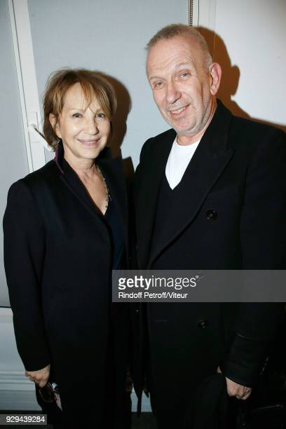 Nathalie Baye and JeanPaul Gaultier attend Nana Mouskouri Forever Young Tour 2018 at Salle Pleyel on March 8 2018 in Paris France