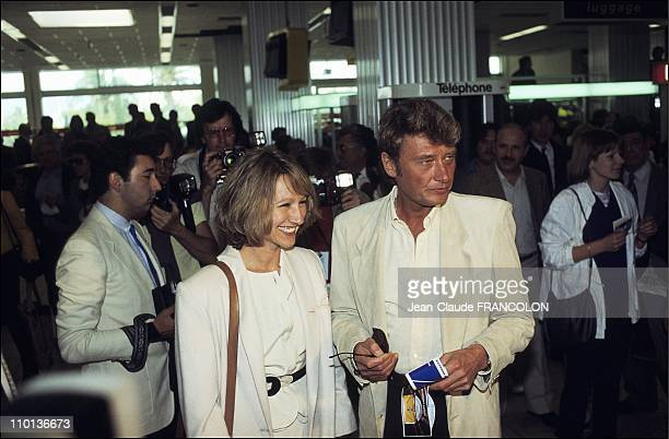 Nathalie Baye and Johnny Hallyday at Cannes festival in France on May 24th1984