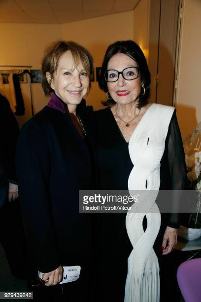 """Nathalie Baye and Nana Mouskouri attend """"Nana Mouskouri Forever Young Tour 2018"""" at Salle Pleyel on March 8, 2018 in Paris, France."""