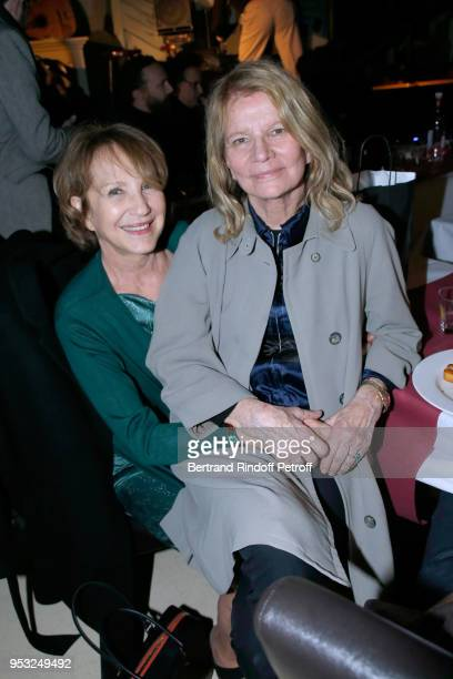 Nathalie Baye and Nicole Garcia attend the Dinner in honor of Nathalie Baye at La Chope des Puces on April 30 2018 in SaintOuen France