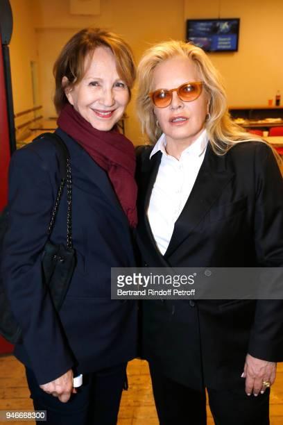 Nathalie Baye and Sylvie Vartan pose after Sylvie Vartan performs at Le Grand Rex on April 14 2018 in Paris France