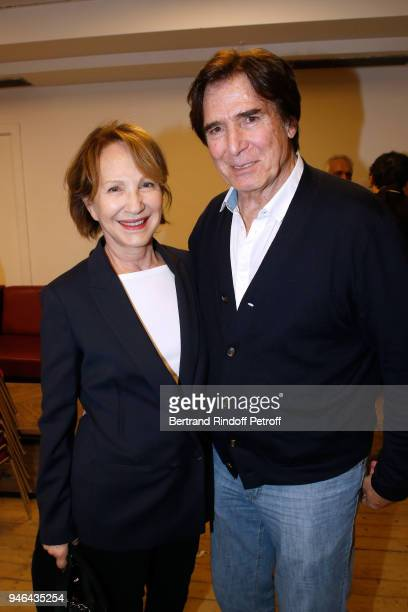 Nathalie Baye and Tony Scotti attend Sylvie Vartan performs at Le Grand Rex on April 14 2018 in Paris France